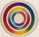 Carl Krasberg: E 22 - Color Circle I, Ölfarben auf kunststoffbeschichteter Spanplatte, Durchmesser 37 cm, 1969