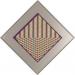 Carl Krasberg: J 23 - 9 gleiche Quanten bei 8 Farben, Ölfarben auf Aluminium, diagonal 72,5 cm, 1981