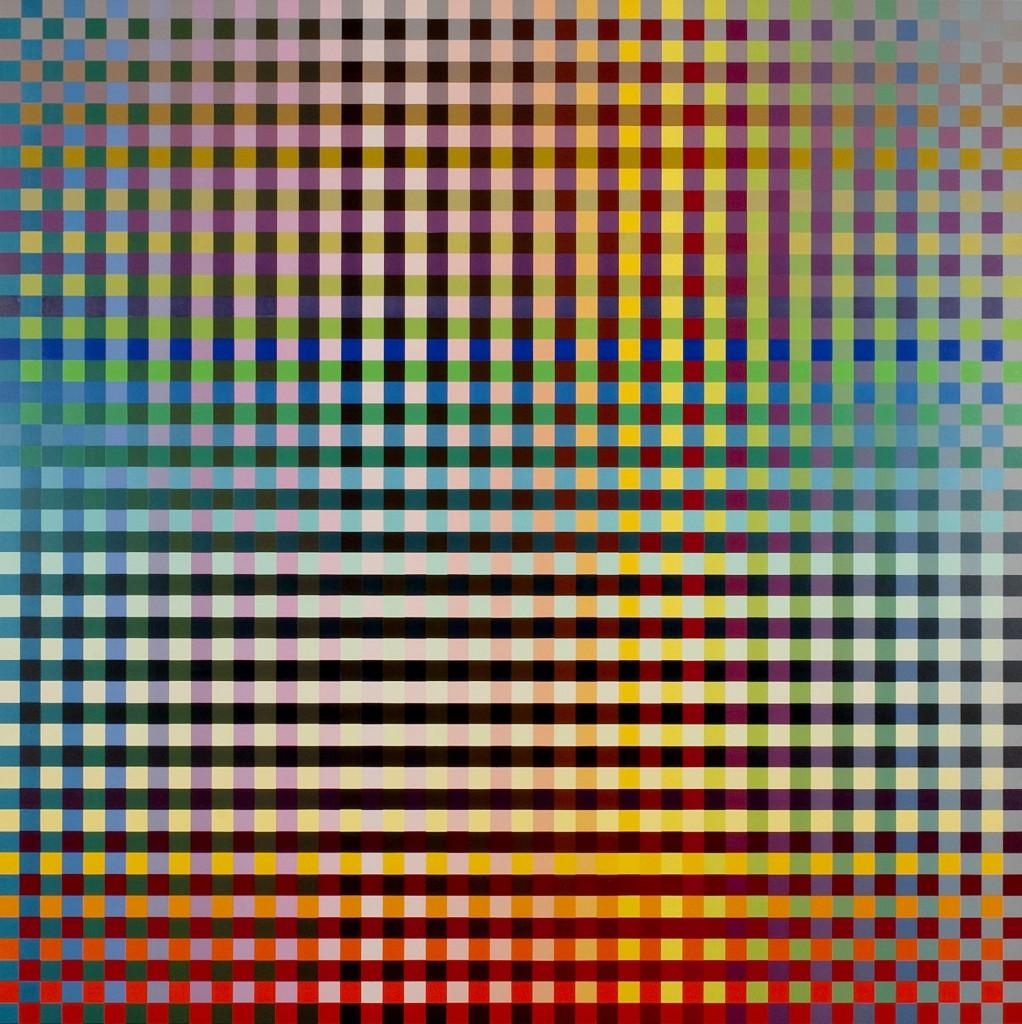 Carl Krasberg: P 73 - Von Blau zu Orange zu Grau, 121 x 121 cm, 2009, Ölfarben auf kunststoffbeschichteter Platte